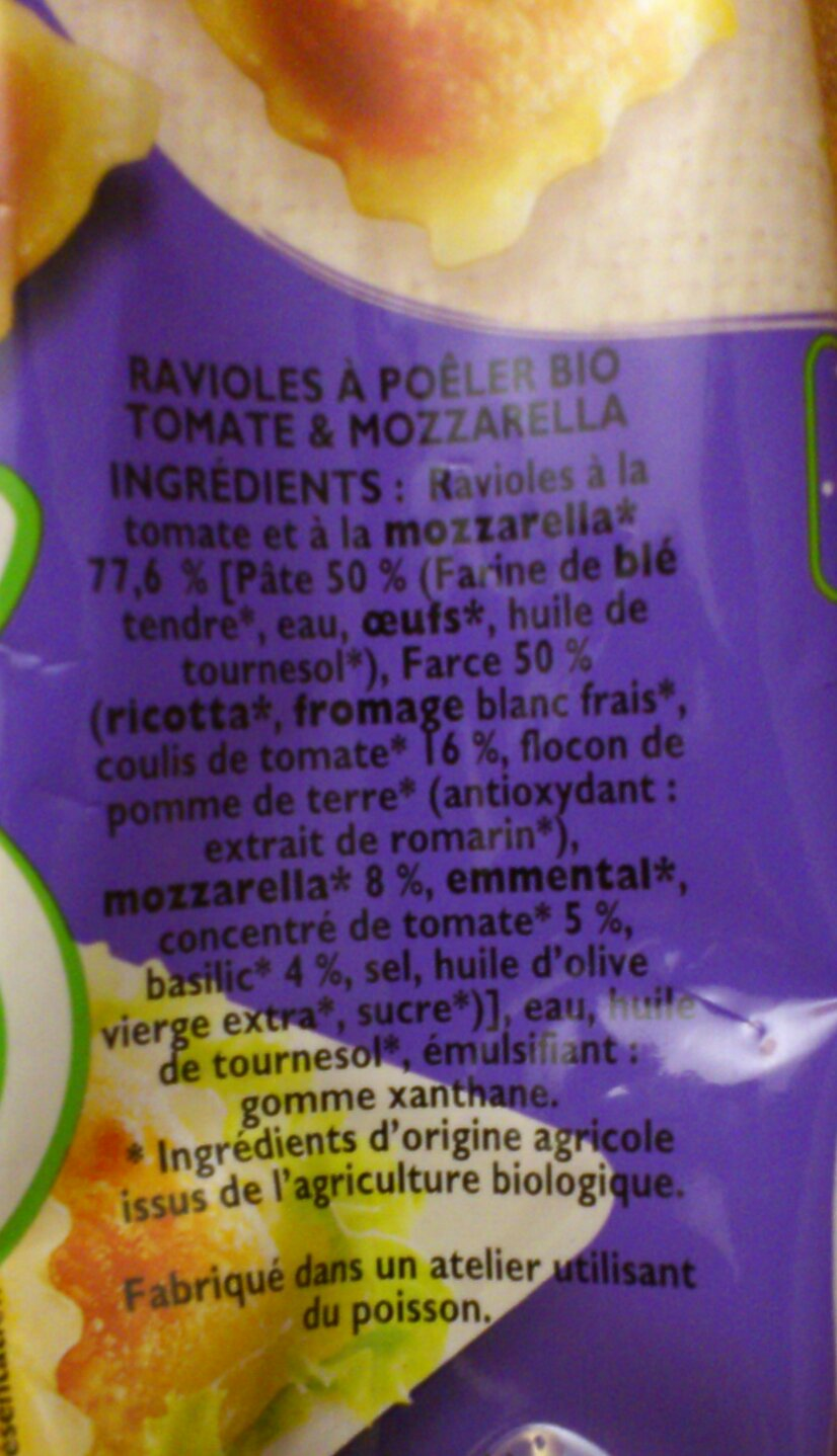 Les ingrédients des Ravioles à Poêler